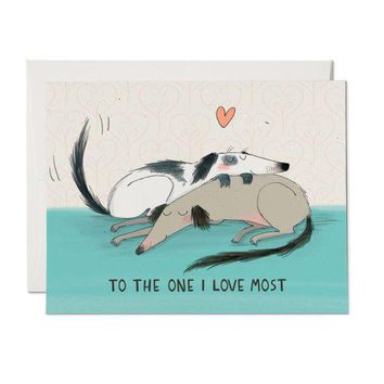 RED CAP CARDS DOG LOVE CARD