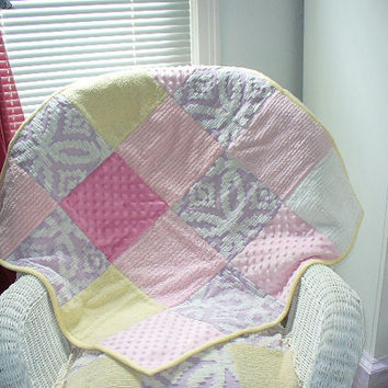 Baby Girl Quilt Pink Lavender Yellow Super Soft Minky Dot and Chenille