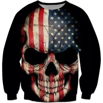 American Flag Skull All Over Print Crewneck Sweater