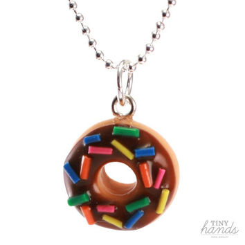 Scented Chocolate Sprinkles Donut Necklace