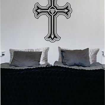Cross Version 3 Religious Decal Sticker Wall Vinyl Art Home Room Decor