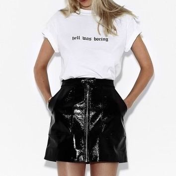 PUDO XHM Hell Was Boring Graphic Tee Summer Women Tumblr Grunge Street Style T-Shirt Hipsters Cute Outfit