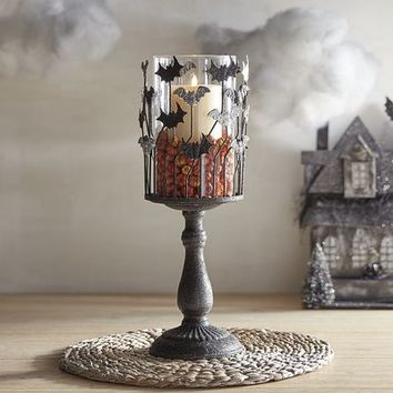 Bat Pedestal Hurricane Candle Holder