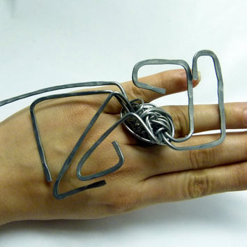 Huge original rings shop , wire wrapped jewelry , big abstract high fashion design , statement art jewelry