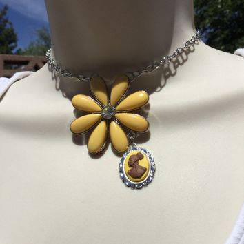 Vintage Yellow Flower Cameo Necklace/Free Shipping
