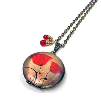 Poppy Flower Handpainted Brass Locket with Czech Glass Drops 14K Gold Wire