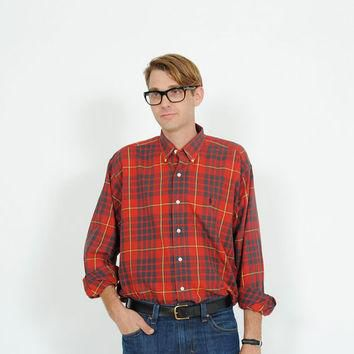 RALPH Lauren Shirt . Vintage 1980s Plaid Oxford . 80s Button Down Shirt