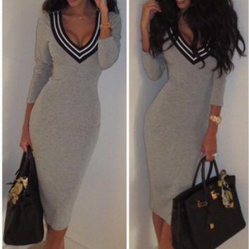 Gray Deep V Long Sleeve Midi Dress