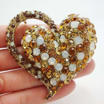 New Elegant Retro Love Heart Pendant Brooch Pin Brown Austrian Crystal Rhinestones