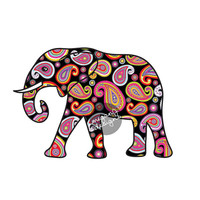 Elephant Car Decal Black Paisley Colorful Bumper Sticker Laptop Decal Pink Green Teal Yellow Jungle Car Sticker