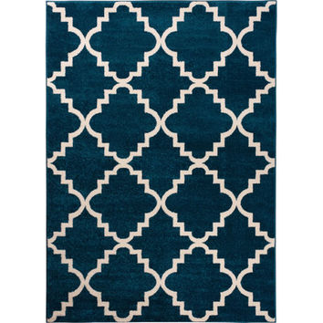 Well Woven Sydney Lulu'S Lattice Navy Blue Area Rug | Wayfair