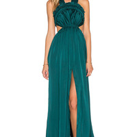 Needle & Thread Gloss V Back Silk Gown in Green