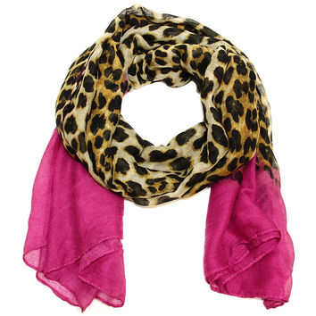 Large Ombre Leopard Rectangle Scarf in Holiday Berry
