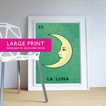 Loteria La Luna Mexican Retro Poster Moon Illustration Wall Art Print Vintage Bingo - Large Giclee on Cotton Canvas and Satin Paper