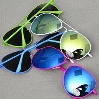 *[E/W]-Reflective Lens Aviators- Multi-Color Frames