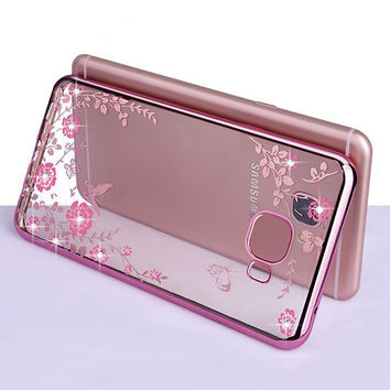 """For Samsung A5 2017 Case Secret Garden Flowers Rhinestone Cell Phone Plating Cases For Samsung Galaxy A5 2017 A520 A520F 5.2"""""""