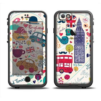 The Vector London Sketchbook Collage Apple iPhone 6 LifeProof Fre Case Skin Set