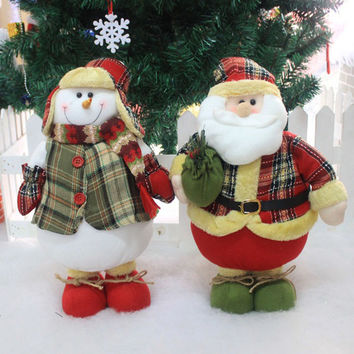 Flannel Plastic Mr and Mrs Santa Claus Christmas Red Toy Doll Decoration