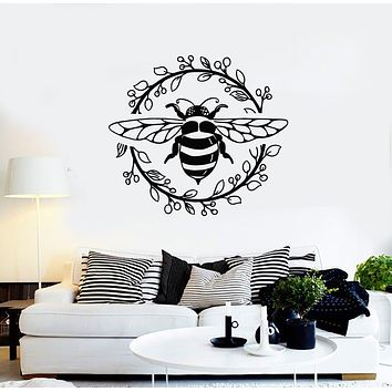 Vinyl Wall Decal  Insect Wasp Bee Cartoon Circle Floral Art Stickers Mural (g3282)