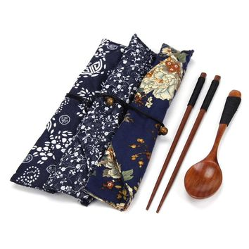 Portable Travel Outdoor Natural Wooden Chop sticks Teaspoons Tableware Dinnerware Set Vintage + Blue Bag Dining Sushi Tool