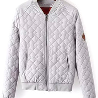 Silver Diamond Pattern Collarless Bomber Jackets