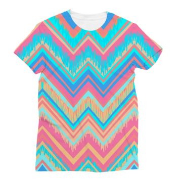 Blue and Pink Chevron AWDis Sublimation T-Shirt