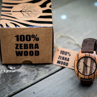 Classy Handmade Zebra Wood Square Dial Watches With Crazy Horse Leather Strap