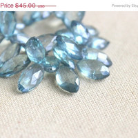 51% CLEARANCE Sale Blue Quartz Gemstone Briolette Mystic Silver Teal Faceted Marquis drop 15 to 18mm 50 beads Full Strand