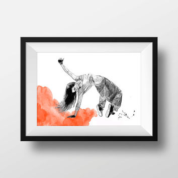 street dancer print  Sketch modern street dancer art wall decor poster