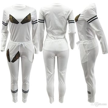 2017 Small monster sport suit high quality black and white, two color hot brick long sleeves sports suit pink ripndip gosha rubc