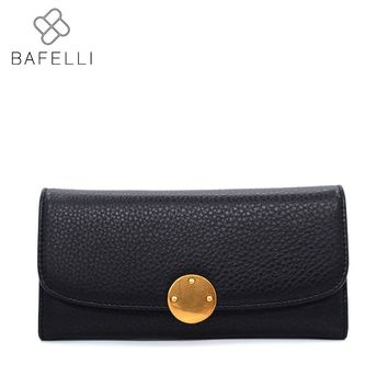 BAFELLI genuine leather long wallets women simple zipper & hasp carteira purse black brown coin pocket wallet women