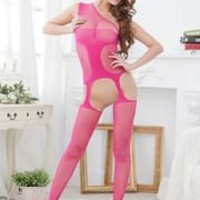 Stylish Women Mesh Hollow Out Lingerie Translucent Body Stocking Rosy