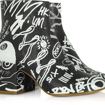 MM6 Maison Martin Margiela Black Crackled Graffiti Printed Leather Heel Boots