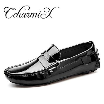 Handmade Patent Leather Men Casual Shoe Slip On Leisure Men Driving High Quality Office