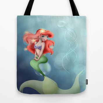 Ariel Little Mermaid Tote Bag by LouJah