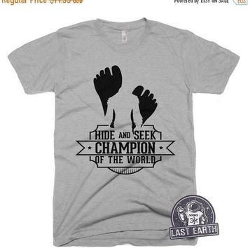 LARGE - SALE Hide and Seek Champion of the World T Shirt Funny Bigfoot Tshirt Camping Tee Shirt Mens Funny Tshirts Sasquatch Shirt - Large