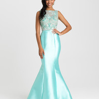 Madison James 16-410 Beaded High Neck Mikado Mermaid Prom Dress Evening Gown