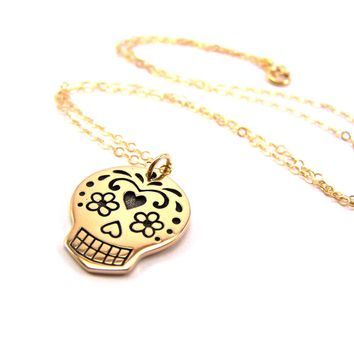 Sugar Skull Charm Necklace - 14k Gold Fill Necklace - Simple Jewelry - Dainty Necklace - Gold Fill Jewelry - Skull Necklace - Gift for Her