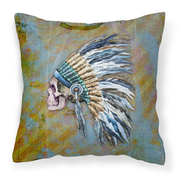 Day of the Dead Indian Chief Skull  Fabric Decorative Pillow BB5128PW1414