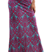 Damask Maxi Skirt - Fuchsia/Mint