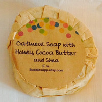 Oatmeal, Milk and Honey 5 oz Organic Soap Bar with Nutritious Butters Shea Butter Cocoa Butter Coffee Butter, Dry & Normal Skin
