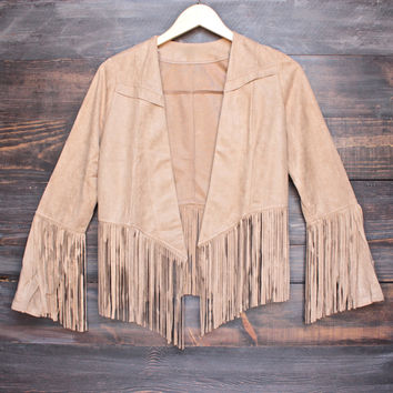 "womens lightweight fringe ""suede"" jacket in tan"