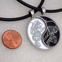 Dragon/Tiger Japanese Split Yin Yang Pewter Pendant Best Friends/Lovers Necklace