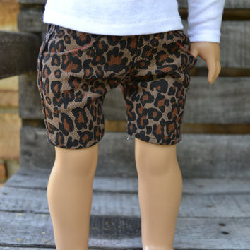 American Girl Doll Clothes - Leopard Print Jean Shorts with real pockets -