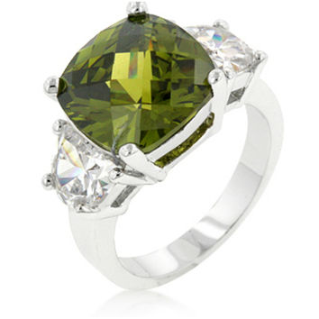 Jonquil Olive Cushion Cut Cocktail Ring | 9ct | Cubic Zirconia | Silver