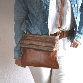 Leather and striped fabric cross body bag, Leather shoulder bag purse, Boho style bag