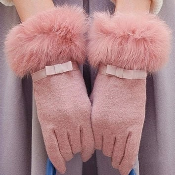 Female double thick warm autumn and winter cold wind angora cashmere fleece gloves mouth = 1946152260