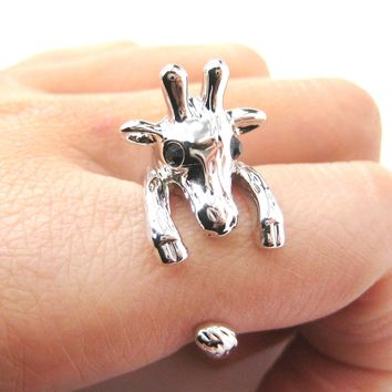 Adorable Giraffe Shaped Animal Wrap Ring in Shiny Silver | US Sizes 7 to 9