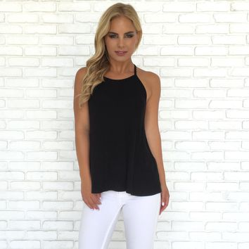 Light & Simple Ribbed Tank Top in Black