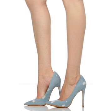 Light Denim Distressed Pointy Toe Classic Pumps @ Cicihot Heel Shoes online store sales:Stiletto Heel Shoes,High Heel Pumps,Womens High Heel Shoes,Prom Shoes,Summer Shoes,Spring Shoes,Spool Heel,Womens Dress Shoes